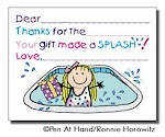 Pen At Hand Stick Figures Stationery - Pool - Girl (Fill-In Thank You Notes)