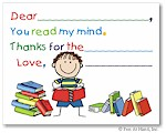 Pen At Hand Stick Figures Stationery - Reader - Boy (Fill-In Thank You Notes)