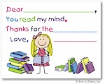 Pen At Hand Stick Figures Stationery - Reader - Girl (Fill-In Thank You Notes)