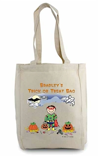 Pen At Hand Stick Figures - Tote Bag - Halloween (Boy)