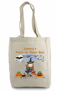 Pen At Hand Stick Figures - Tote Bag - Halloween (Girl)