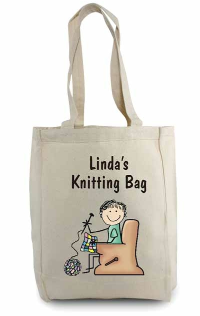 Pen At Hand Stick Figures Tote Bag Knitting