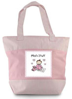 Pen At Hand Stick Figures - Zippered Tote Bag (Pink Baby Stuff)