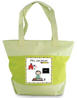 Pen At Hand Stick Figures - Zippered Tote Bag (Teacher)