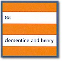 Boatman Geller Gift Stickers - Orange Stripe/Navy Border