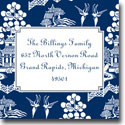 Boatman Geller Holiday Gift Stickers - Chinoiserie Navy