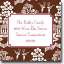 Boatman Geller Holiday Gift Stickers - Chinoiserie Brown