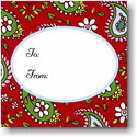 Boatman Geller Holiday Gift Stickers - Paisley Red