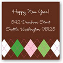 Boatman Geller Holiday Gift Stickers - Argyle Brown and Pink