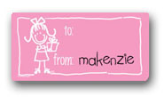 Dinky Designs Gift Stickers - Girl With Present (122G)