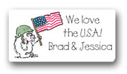 Dinky Designs Gift Stickers - U.S.A. Bear & Flag (128U)