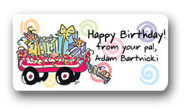 Dinky Designs Gift Stickers - Wagon Load of Presents (119W)