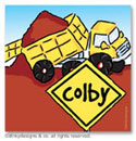Dinky Designs Gift Stickers - Big Dump Truck (Square) (SQ1-146B-04)