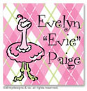 Dinky Designs Gift Stickers - Argyle Ostrich (Square)