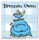 Dinky Designs Gift Stickers - Hippo Birdie (Square) (SQ1-781H)