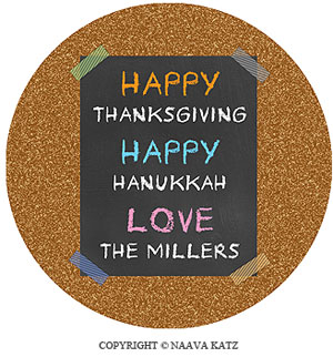 Personalized Gift Stickers - Corkboard Happy Hanukkah (#S3)