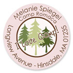 Name Doodles - Round Address Labels/Stickers (Pine Trees Pink - Camp)
