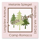 Name Doodles - Square Address Labels/Stickers (Pine Trees Pink - Camp)