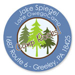 Name Doodles - Round Address Labels/Stickers (Pine Trees Blue - Camp)