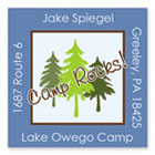 Name Doodles - Square Address Labels/Stickers (Pine Trees Blue - Camp)