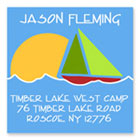 Name Doodles - Square Address Labels/Stickers (Sunny Sails - Camp)
