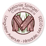 Name Doodles - Round Address Labels/Stickers (Timber Pink - Camp)