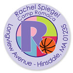 Name Doodles - Round Address Labels/Stickers (Sporty Basketball Lilac - Camp)
