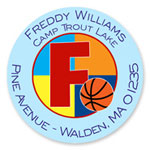Name Doodles - Round Address Labels/Stickers (Sporty Basketball Blue - Camp)