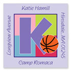 Name Doodles - Square Address Labels/Stickers (Sporty Basketball Lilac - Camp)