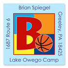 Name Doodles - Square Address Labels/Stickers (Sporty Basketball Blue - Camp)