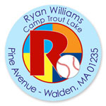 Name Doodles - Round Address Labels/Stickers (Sporty Baseball Blue - Camp)