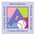 Name Doodles - Square Address Labels/Stickers (Sporty Baseball Lilac - Camp)