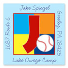 Name Doodles - Square Address Labels/Stickers (Sporty Baseball Blue - Camp)