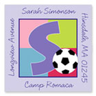 Name Doodles - Square Address Labels/Stickers (Sporty Soccer Lilac - Camp)