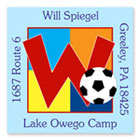 Name Doodles - Square Address Labels/Stickers (Sporty Soccer Blue - Camp)