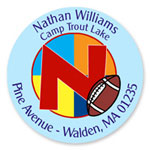 Name Doodles - Round Address Labels/Stickers (Sporty Football Blue - Camp)