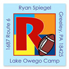 Name Doodles - Square Address Labels/Stickers (Sporty Football Blue - Camp)
