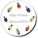 Sugar Cookie Holiday Gift Stickers - Dreidels