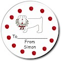 Sugar Cookie Holiday Gift Stickers - Dog