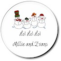 Sugar Cookie Holiday Gift Stickers - Snow Family