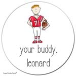 Sugar Cookie Gift Stickers - Football Kid