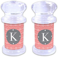 Dabney Lee Personalized Salt and Pepper Shakers - Greek Key