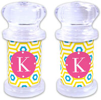 Dabney Lee Personalized Salt and Pepper Shakers - Happy Hexagon