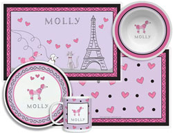 3 or 4 Piece Tabletop Sets by Kelly Hughes Designs (Poodles In Paris)