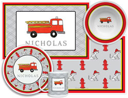 3 or 4 Piece Tabletop Sets by Kelly Hughes Designs (Firetruck)