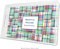 Boatman Geller Lucite Trays - Madras Patch Blue (Large - Panel)