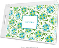 Boatman Geller Lucite Trays - Suzani Teal (Large - Panel)