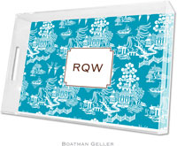 Boatman Geller Lucite Trays - Chinoiserie Turquoise (Large - Panel)