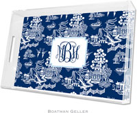 Boatman Geller Lucite Trays - Chinoiserie Navy (Large - Panel)