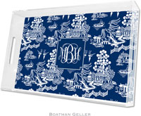 Boatman Geller Lucite Trays - Chinoiserie Navy (Large - Pre-Set)